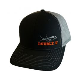 Double U Hat, Black with Grey Mesh