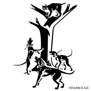 Bobcat Treed Decal with Hounds