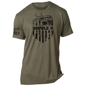 Military Green Double U Flag Crest Logo T-Shirt