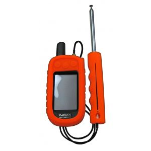 Long Range Compact Antenna on Garmin Alpha 100 with optional soft shell for handheld