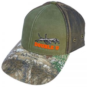 Green canvas front with brown and camo Hat
