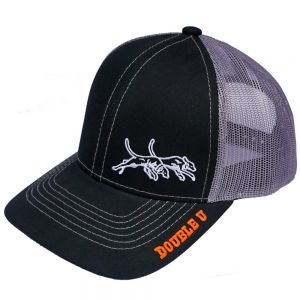 Double U Black and Gray Mesh Back Hat